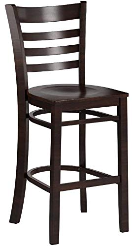 Flash Furniture HERCULES Series Ladder Back Walnut Wood Restaurant Barstool