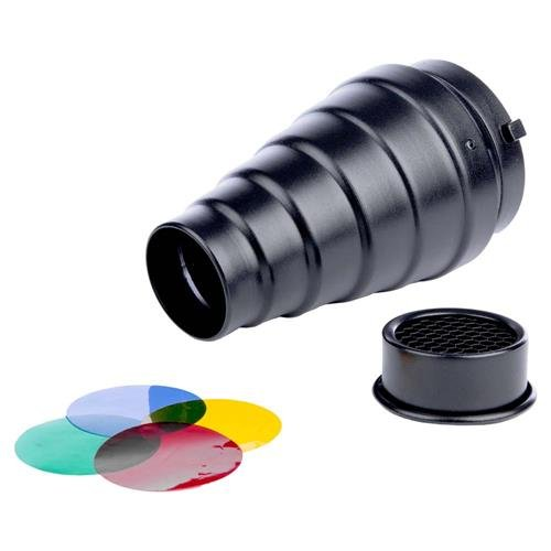 Interfit MSNOOT Studio Essentials Quality - Snoot with Bowens S-Type Mount Kit/Honeycomb Grid and 5-Color Gel Set, Black