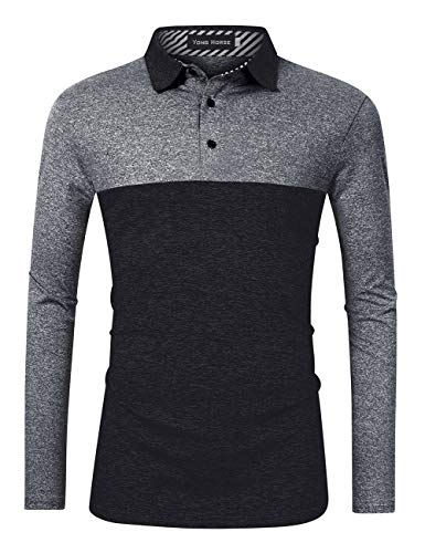 Yong Horse Men's Casual Dry Fit Classic Golf Polo Shirts 2 Button Athletic Long Sleeve Striped Collar Polo T Shirt(XXL, Black-Grey)