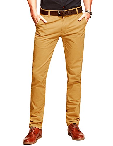 Match Mens Slim-Tapered Flat-Front Casual Pants(Khaki Yellow,36)
