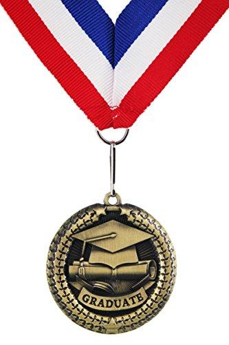 GraduationMall Zinc Alloy Graduation Souvenir Medal with Ribbon 1 PCE