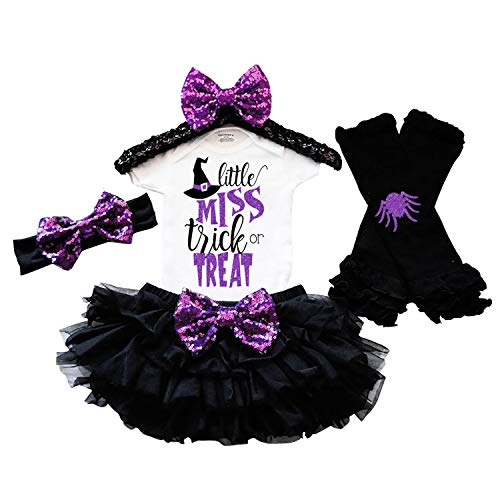 KANGKANG Baby Girl Halloween Costume Tutu Dress Witch Rompers+Leg Warmers+Headband Outfits 9-12 Months]()