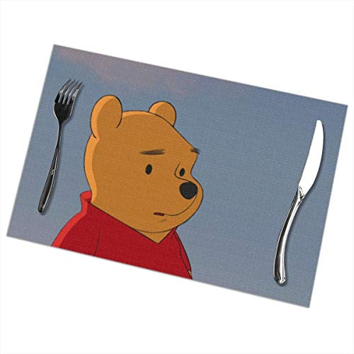 (LIUYAN Placemats Winnie The Pooh Placemat Washable Table Mats Set of 6 for Dining Table)