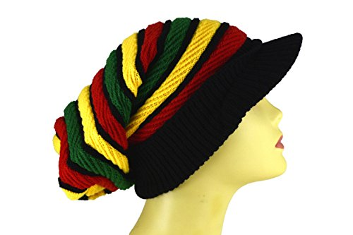 Rasta Single (Reggae Baggie Beanie Hat Rasta Colors (Rasta Thick Single Stripe))