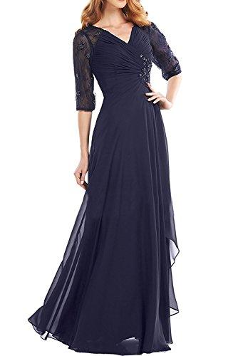 Spitze Tanzenkleider mit Brautmutterkleider La Navy Bodenlang Blau Braut Dunkel Abendkleider Promkleider Glamour Marie Langarm TqTSw0t