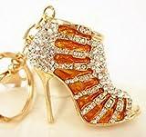 Khaopan Keyring- Gold Shoe High Heel Charm Crystal Purse Bag Keyring Key Chain Gift Accesories