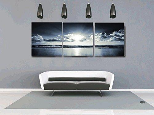 Canvas Wall Art Black White Dark Blue Sea Sunset 12\