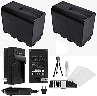 2-Pack NPF-970//960 Bundle Includes UltraPro Accessory Set 950 High-Capacity Replacement Batteries with Rapid Travel Charger for Select Sony Camcorders