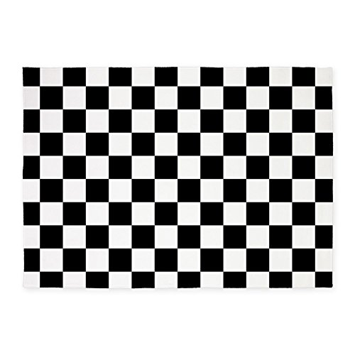CafePress Black And White Checkerboard Decorative Area Rug, 5'x7' Throw Rug ()