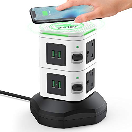 Extension Plug Tower, Tower Extension Lead with 6 Sockets, 4 USB Slots & Wireless Charger, Vertical Power Strips with 2M Extension Cord, Individual Switches & Surge Protector, Black