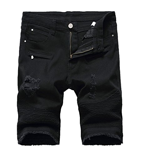 (Mens Casual Zipper Biker Jeans Shorts Moto Denim Short Pants,Holes&black,28)