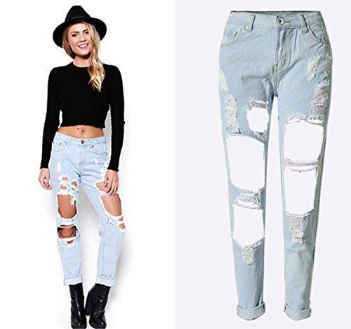 Straight Mujeres Mhgao Personality Womens Loose Pantalones Esquinas Beggar New Explosive Cowboy Holes 1 wAqpazZx