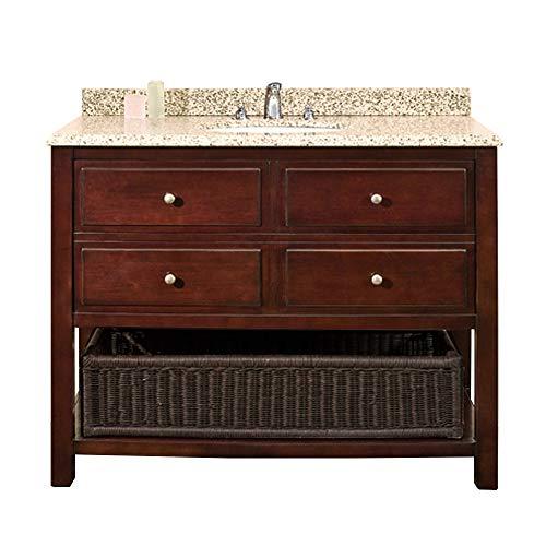 Granit Vanity (Ove Decors DANNY 42 Bathroom Vanity, Chocolate with Beige Granite Vanity Top & White Basin, 42-Inch by 21-Inch)