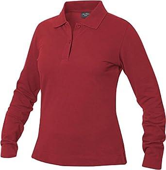 Womens Fine Quality Long Sleeve Heavyweight 100% Cotton Polo Shirt, 6 Colour Options, Sizes (S-XL)