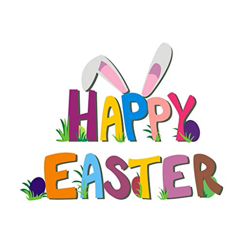 ♚Rendodon♚ Sticker, Home Decor, Happy Easter Bunny Wall Sticker, Happy Easter Rabbit Vinyl Decal Art Wall Sticker DIY Home Room Decor (Size: 55cm x -