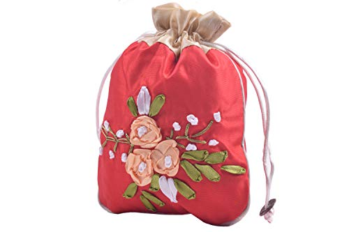 VIAMTO 10pcs 12.0x16cm/4.8''x6.4'' Lining Floral Drawstring Silk Brocade Bags,Jewelry Packing Pouches,Wedding Favor Gift Bags,Red