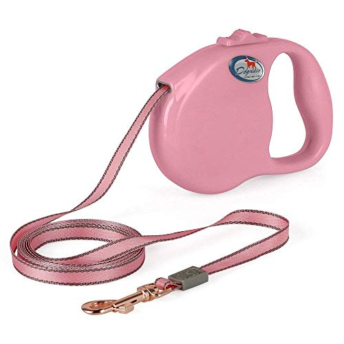 DOGNESS Retractable Dog Leash, the Modern Series, One Button Locking System, Suitable For Kids, No Tangle Waterproof Ribbon Tape, for Small Medium Large Dogs, Pink 10 ft