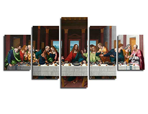 Jesus Christ Religious Art Painting - The Last Supper by Leonardo Da Vinci Framed Art Canvas Print Wall Picture for Bedroom Christ Jesus Wall Art 5 Piece Painting Religious Artwork Christian Wall Decor Easter Gift(50''Wx26''H)