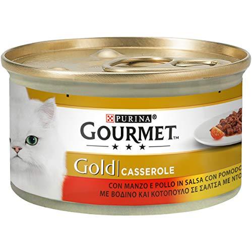 Purina Gourmet Gold Húmedo – Cacerolas con Ternera y Pollo en Salsa con Tomate, 24 latas de 85 g Cada uno, 24 x 85 g