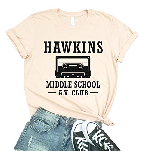 Hawkins Middle School AV Club Graphic Tees Women Short Sleeve Vintage T-Shirt Size L (Pind)