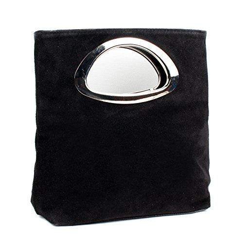 Aossta Ladies Real Italian Suede Leather Small Clutch & Evening Bag Tote Bag (M05 Black)