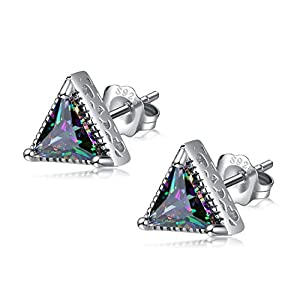 EVERU Sterling Silver Triangle Stud Earrings with 3 Prong Sparkling Starlight Swarovski Crystal for Men and Women