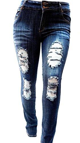 SLS Womens Plus Size Stretch Distressed Ripped Blue Skinny Denim Jeans Pants