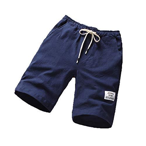 (Serzul Mens Shorts Summer Linen Cotton Solid Beach Casual Elastic Waist Classic Fit Plus Size Pants)
