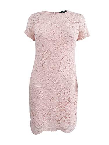 (LAUREN RALPH LAUREN Womens Lace Boatneck Cocktail Dress Pink 16)