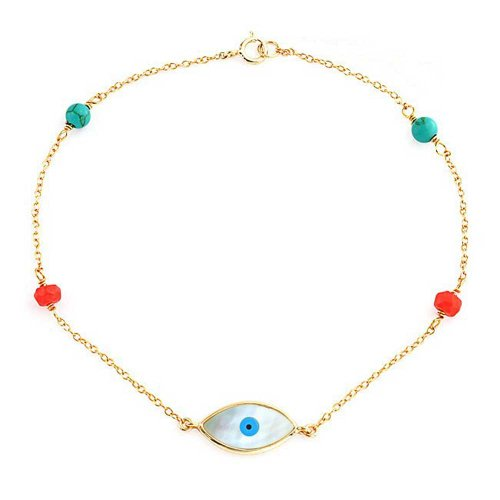 Compressed Turquoise Coral Bead Mop Evil Eye Bracelet For Women For Teen 14K Gold Plated 925 Sterling Silver