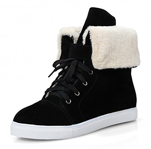 Aisun Womens Warm Comfy Round Toe Lace Up Flat Platform Ankle Snow Boots Booties Shoes Black