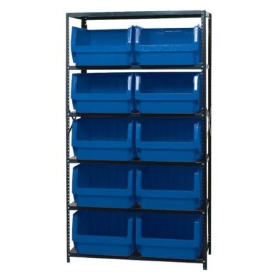 Magnum Bin Unit with 6 Shelves & 10 Blue Bins 19-3/4