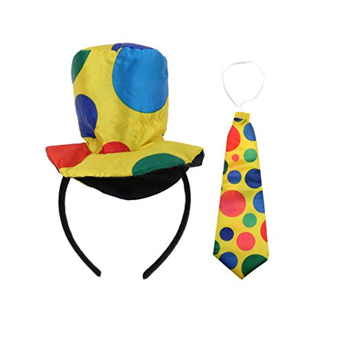 KODORIA Circus Clown Costume Accessories Hat +Necktie Circus Party Fancy Dress Up -