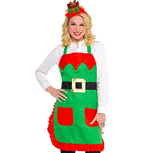 amscan Christmas Elf Fabric Apron | Party Costume]()