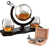 home decor for men The Wine Savant World Decanter - With 2 Globe Glasses, Perfect Gift, Includes Whiskey Stones For Whiskey, Scotch, Bourbon or Wine Matching Globe Glasses, HOME BAR DECOR