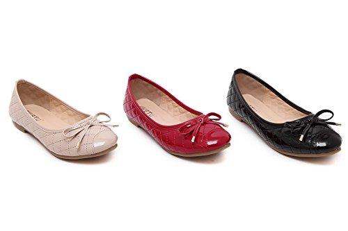AgooLar Damen Schließen Zehe Ziehen Auf kunstleder Flache Schuhe Schwarz+Kleine Lazo