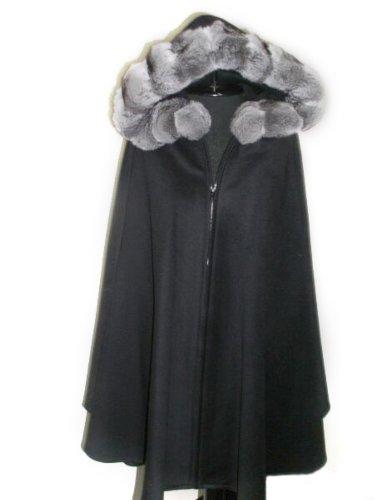 Black Loro Piana 17 Ounce 100% Cashmere Zip Cape w/Natural Chinchilla Trimmed Hood ()