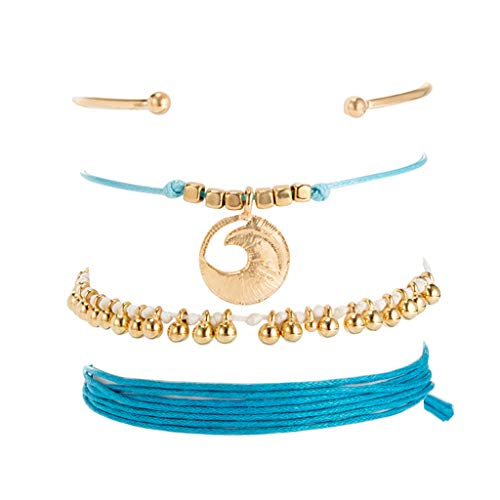Agelloc Vintage Small Beads Bracelet Set Hand-Knitted Rope Bracelet Set Simple Rope Wristband Friendship Thread Bracelet Wrist Ankle Ladies Girls with Tassels Barefoot 4PCs