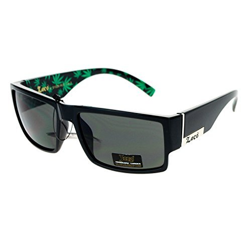Locs Marijuana Pot Leaf Print Rectangular Mad Dog Sunglasses ()