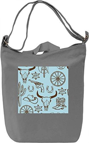 Cowboy Stuff Print Borsa Giornaliera Canvas Canvas Day Bag| 100% Premium Cotton Canvas| DTG Printing|