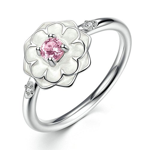 PSRINGS 925 Sterling Silver Blooming Dahlia Wedding Rings Genuine Compatible with Pan Fine Jewelry 6.0