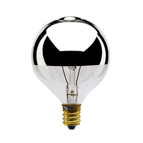 Bulbrite 40G16HM 40-Watt Incandescent Half Chrome G16.5 Globe, Candelabra Base [Pack of 6]