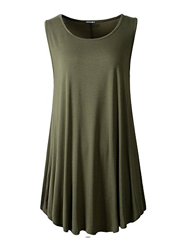 Veranee Women's Sleeveless Swing Tunic Summer Floral Flare Tank Top (X-Large, Army Green)