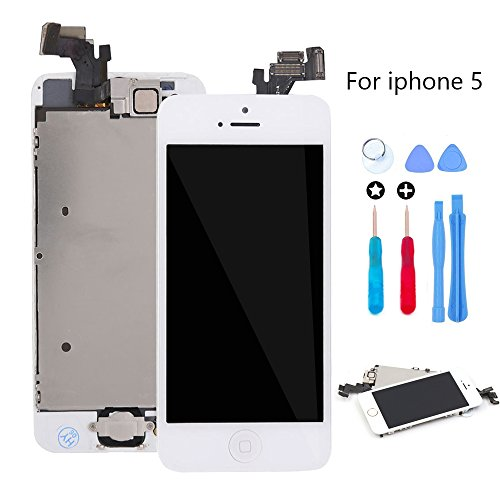 for iPhone 5 Screen Replacement White LCD Display Touch Digitizer Glass Lens Assembly Camera and Home Button Repair with Tools