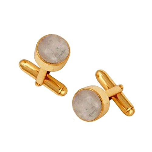 Gemstone Gold Plated Men's Jewelry Rainbow Moonstone Silver Jewelry Cuff links by Jaipur Handmade Jewelry