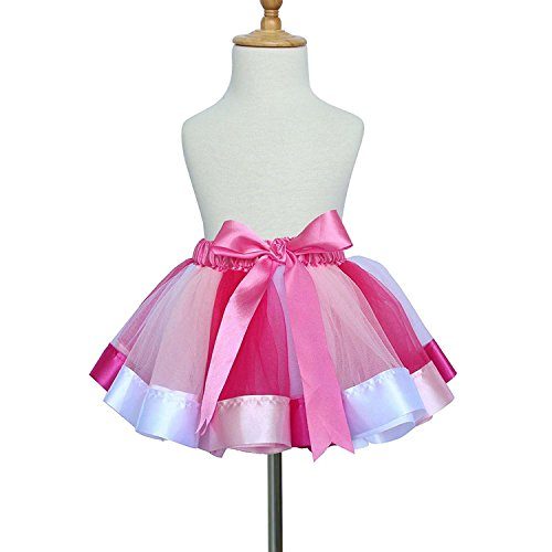 TRADERPLUS Baby Girls Colorful Layered Dance Outdoor Rainbow Tutu Skirt (Large 7-9 Years, E)