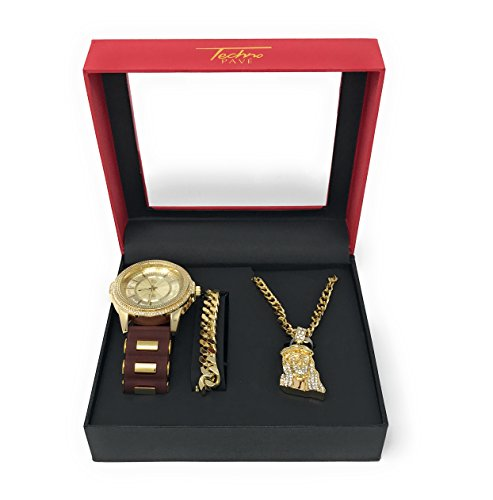 Men's Hip Hop Gold Watch and Iced Out Jesus Pendant on Gold Chain with Matching Bracelet Gift Set