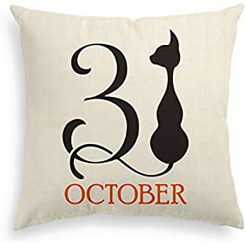 AVOIN Halloween 31 October Throw Pillow Cover, 18 x 18 Inch Black Cat Linen Cushion Case Decoration for Sofa Couch