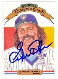 Autograph Warehouse 56267 Gorman Thomas Autographed Baseball Card Milwaukee Brewers 1982 Donruss Diamond Kings No .26 - 1982 Brewers