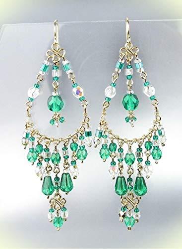 - EXQUISITE Urban Artisanal Aqua Fire Aurora Crystals Gold Chandelier Earrings For Women Set